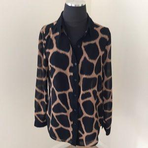 Michael Kors Black Combo Sheer Button Down Shirt